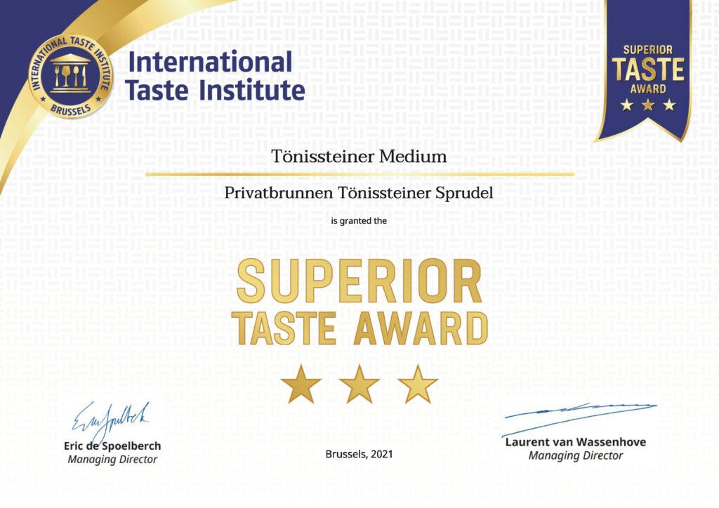 Superior Taste Award ToenisSteiner Exklusiv Medium Zertifikat